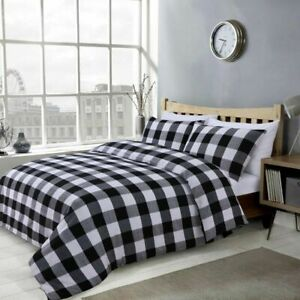 Polyester Cotton Black Grey and White Checked Printed Duvet Cover Sets All Sizes