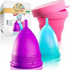 Talisi Menstrual Cup Set Large Small & Silicone Period Wash Sterilizer Feminine