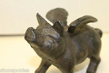 New Cast Iron Pig with Wings Figurine Doorstop or Paperweight