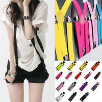 Colorful Y-back Suspenders Unisex Clip-on Adjustable Braces Elastic