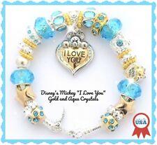 Disney Mickey Love Heart Aqua Gold European Charm Bracelet Jewelry Pouch New