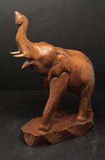 Vintage XLarge Norleans Thailand Carved Teak Wood Elephant Sculpture Figurine
