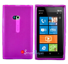 New PINK Soft Gel TPU Cover Case For NOKIA Lumia 900 + Screen Protector