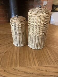 Two Cylinder Wicker Containers