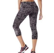 Zumba Lovely Crop Leggings Womens Size XXL Gray Black Geometric