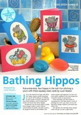 BATHING HIPPOS by Lucie Heaton Cross Stitch pattern from magazine