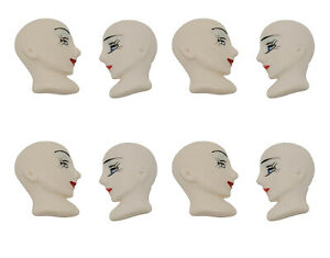 Lot of 8 Lady in Profile Resin Deco Face Head for Craft Jewelry Cameo Brooch VTG