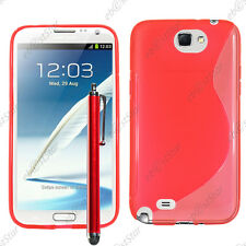 Housse Etui Coque Silicone S-line Gel Rouge Samsung Galaxy Note 2 N7100 + Stylet