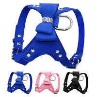 Adjustable Pet Dog Harness Martingale Vest Collar with Cute Bling Bowknot S M L
