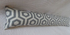 Draught Excluder Handmade Cotton Fabric Geometric Retro Print Grey Off-White