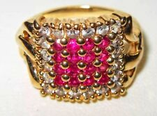 Beautiful Gems Tv 9ct Yellow Gold Ruby & 0.30ct Diamond Cluster Ring. 4.8grams