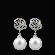 Luxury Crystal Pearl Rose Eardrop Drop Dangle Earrings Wedding Womens Jewellery