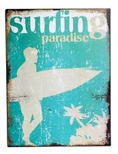 """Rustic """"  Surfing Paradise """"  Metal   wall Plaque     BRAND NEW"""