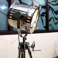 Huge vintage industrial DESIGNER Chrome Nautical SPOT LIGHT Tripod Floor LAMP