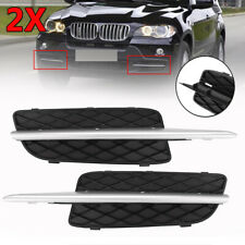 Pair Front Bumper Lower Grille Cover W/Chrome Trim For BMW X5 E70 X6 E71 2007-10