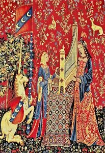 LADY & UNICORN 5 SENSES SERIES, THE HEARING 62CM X 48CM TAPESTRY WALL HANGING