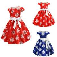 Kid Girls Princess Dress Christmas Gown Wedding Party Birthday Bowknot Ball Maxi