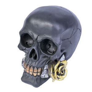 Black Rose from the Dead Black Skull With Gold Rose 11cm High Gothic Nemesis Now
