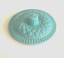 """Vintage CALIFORNIA POTTERY Glazed Lazy Susan 7"""" LID Only Turquoise L62  Great"""