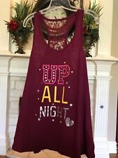 "Women's Juniors Burgundy""UP ALL NIGHT"" Shirt Top Tank  No Boundaries Sz"