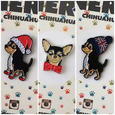3x Perro Chiuahua Perrito Suave Esmalte Navidad Festivo relleno Insignia Pin de Solapa