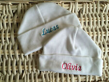 Personalised White Baby Hat 0-3 Months - Any Name, Unique Newborn Gift