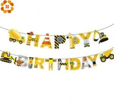 CONSTRUCTION TOOLS & TRUCKS PARTY HAPPY BIRTHDAY HANGING BANNER BUNTING