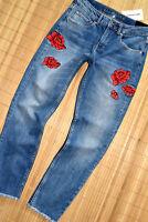 HALLHUBER Boyfriend Stretch Jeans Hose Gr. 34 / UK 6 neu Blau Slim Stickerei