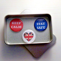 Keep Calm and Stay Safe Pandemic Quarantine Magnet Gift Set with Gift Tin