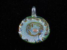 """Multicolor Murano Glass Silver Foil Lampwork Handmade Round Pendant 1.3/4""""Inche"""