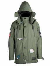SPRAYGROUND KIDS GREEN ARMY SHARK PATCHES LONG PARKA LIMITED Military Jacket