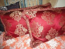WATERFORD MEDALLION STRIPE FRINGED RUBY RED  (PAIR) KING PILLOW SHAMS 21 X 36