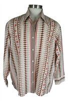Sears Kings Road Vtg Mens Beige Paisley Long Sleeve Disco 70s Shirt 2XL