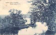 White Lake New York Amber Lake Channel Waterfront Antique Postcard K60703