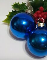 Vintage Christmas Ornament RAUCH Mercury Glass Balls lot of 2 BLUE