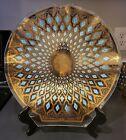 CULVER SEVILLE Shell Dip Server Plate Dish BENT GLASS Gold blue diamonds - RARE!
