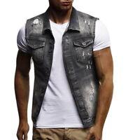 Classic Mens Slim Casual Sleeveless Vest Denim Jean Jacket Coat Summer Outwear