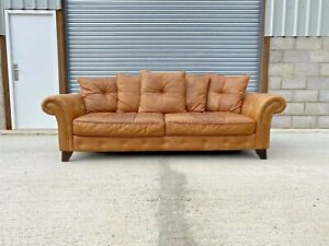 Chesterfield Style Aged Tanned Brown Leather 3 Seater Club Sofa FREE P&P