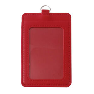 ID Badge Card Holder PU Leather Clip Case Office Work Name Case