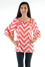 CORAL CHEVRON PRINT BOUTIQUE BELL SLEEVE TUNIC IN MEDIUM -MORE SIZES AVAILABLE