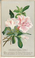 "1880s Christmas Card, Beautiful Litho Flowers ""Christmas Joys"""