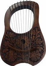 New Engraved Lyre Harp Rosewood 10 Metal Strings + Free Carrying Case and Key