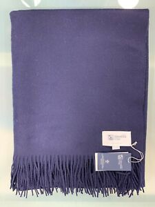 100% Cashmere Throw Blanket   Johnstons of Elgin   Navy   Made in Scotland