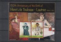 Liberia 2014 MNH Henri de Toulouse-Lautrec 150th Anniv Birth 2v S/S I Paintings