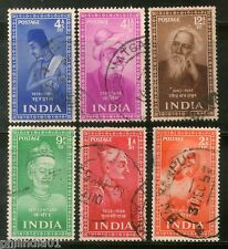 India 1952 Used Year Pack of 6 Stamps Indian Saints & Poets Kabir Tulsi Tagore