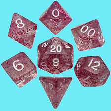 MDG MINI POLYHEDRAL 7 DICE SET ETHEREAL LIGHT PURPLE w/ WHITE NUMBERS rpg game