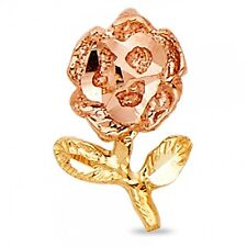 Flower Charm Fancy Polished Two Tone Rose Pendant Solid 14k Yellow Rose Gold