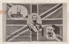POSTCARD    MILITARY  WWI    PATRIOTIC    George  V   Bulldog  Flag