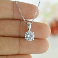"""Solitaire 14k White Gold 1.00ct D/VVS1 Round Diamond Necklace Pendant 18"""" Chain"""