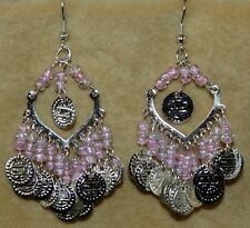 TRIBAL Chandelier Burlesque Gypsy Boho Belly Dance Dancing Coin Shimmy Earrings
